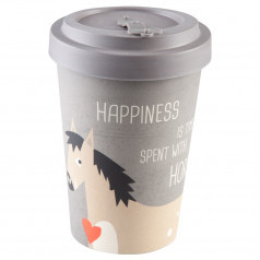 Coffee to Go Becher 'Happiness & Horses' Bambus