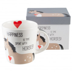'Happiness & Horses' cup/mug in gift box
