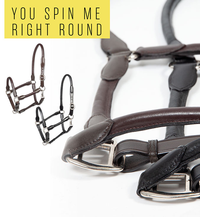 PFIFF Redonda rolled leather headcollar